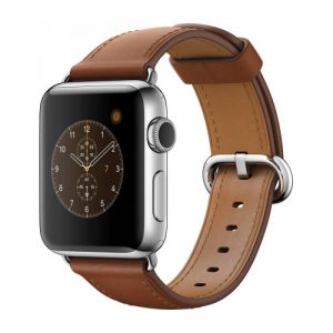 Apple Watch Series 2 38mm Stainless Steel Case with Saddle Brown Classic Buckle MNP72